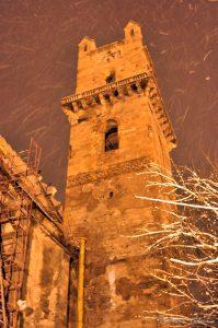 Turnul Bisericii Evanghelice din Bistrița după incendiu